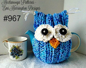 KNITTING PATTERN - Owl Tea Cozy -make it yourself, will fit up to 20 inch pot, (average pot is 16 -17 inches).   Easy Beginner pattern #967