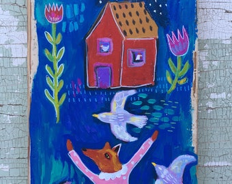 Folk Art Painting on Rustic Wood