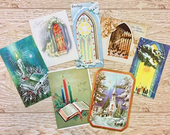 7 Vintage Christmas Church Cards, Religious Christmas Cards, 1940s-1960s Christmas Churches: Set #1
