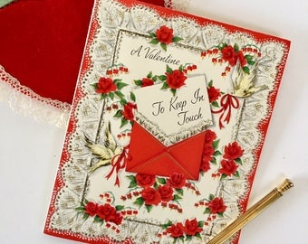 Beautiful Vintage 1950s Valentine Card with Roses, Doves, Love Letters, Lace, NOS, Valentine with Gold and Glitter