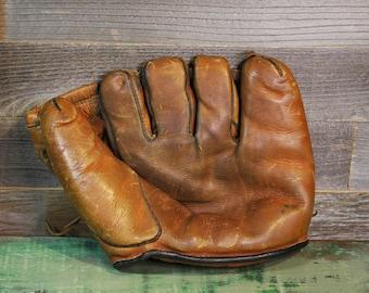 Vintage Leather BASEBALL GLOVE- Sports Decor- Sport Memorabilia- Antique Glove Sports Bar- E7