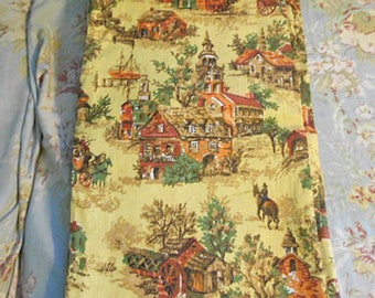 "QUAINT VILLAGE BARKCLOTH Country Scene, Brick Building Church Ships Stagecoach on Autumn Gold, Textured Vat Dyed 41 x 72"" Fabric Rod Pocket"