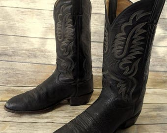 Black Leather Cowboy Boots Justin Mens 11.5 D Country Western Shoes Classic West