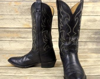 Mens 8.5 D Cowboy Boots Black Leather Nocona Distressed Western Country Shoes