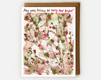 Holly Christmas Card, Card for Boss, Happy Holidays Card, Holly Berry, Holly Berries, Coworker Christmas, Be Merry and Bright, Non Religious