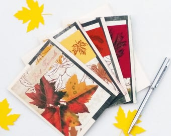 Fall Cards Set - Autumn Note Card Set - Housewarming Gift  Notecard Set - Blank Greeting Cards - Autumn Greeting Cards Set - Handmade Cards