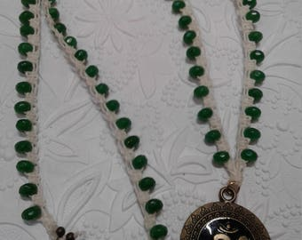 Jade and brass OM necklace