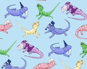 Whimsical Lizards Fabric - Bearded Dragons By Logan Spector - Beards Hat Wizard Kawaii Funny Cute Cotton Fabric By The Yard With Spoonflower