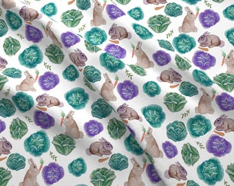 Bunnies Carrots Fabric - Spring Rabbits In Vegetable Garden By Magentarosedesigns - Watercolor Cotton Fabric By The Yard With Spoonflower