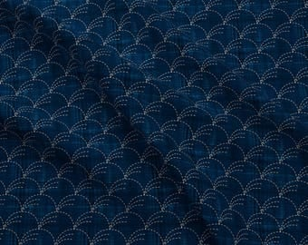 Sashiko Wind Fabric - Sashiko Nowaki - Wind-Blown Grasses By Bonnie Phantasm - Abstract Sashiko Cotton Fabric By The Yard With Spoonflower