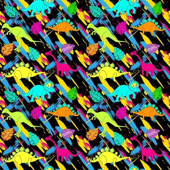 Items similar to rad dinosaur fabric rock on dino for Bright childrens fabric