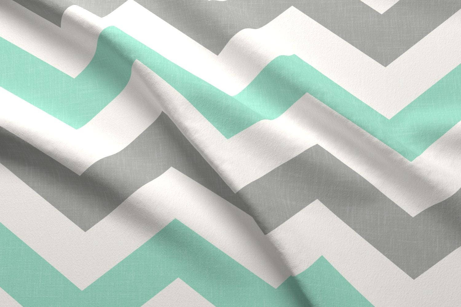 Mint Gray and White Fabric -Bold Chevron In In Mint And Gray Linen ...