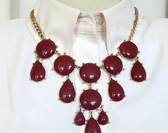 Dangle Bib Necklace Red Brown Lucite Cabochons Vintage
