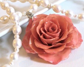 Large Real Rose Pearl Necklace - Pink, Flower Necklace, Real Flower Jewelry, Nature Jewelry, Pearl Necklace, Statement Necklace