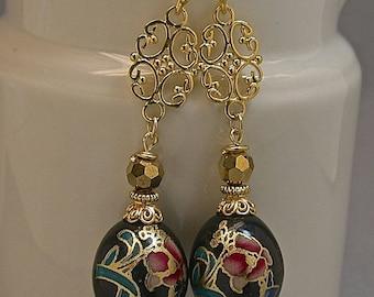 Vintage Japanese Tensha Bead Earrings Black Pink Flower Blue ,Vintage German Glass Beads, Bali 24K Bead Caps /Ear Wires/Gold Medallion