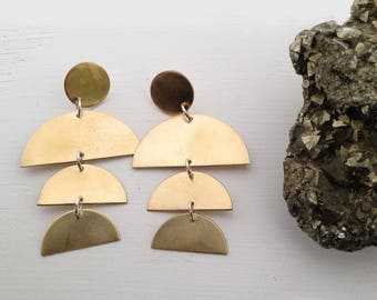 BIGGER BELL Triple Half Round Cascade Earrings in Brass or Silver