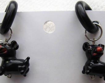 Black Doggies non-pierced Rubber Earrings pr