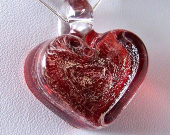 Light Red Chunky Solid Glass Heart Pendant -  Lampwork Glass With Gold Dichroic