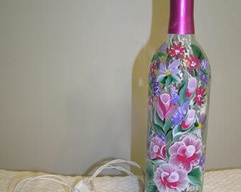 Lighted Wine Bottle - Roses