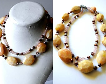 Large Faceted Stone Necklace