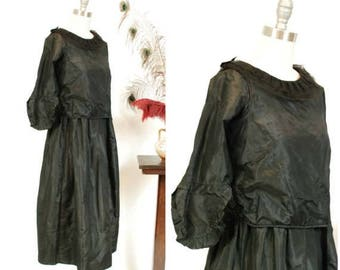 Memorial Weekend Sale - Vintage Edwardian Dress - Late Teens Black Silk Dress with Flared Sleeves and Slightly Dropped Waist - Ca. 1919