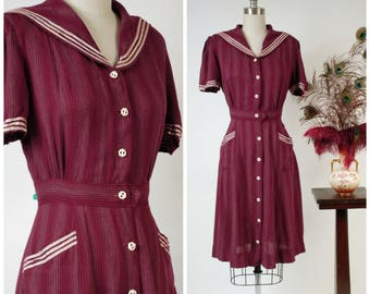RESERVED ON LAYAWAY 1930s Vintage Dress - Incredible Nautical Burgundy Striped Matte Rayon Late 30s Day Dress Sailor Collar & Anchor Buttons