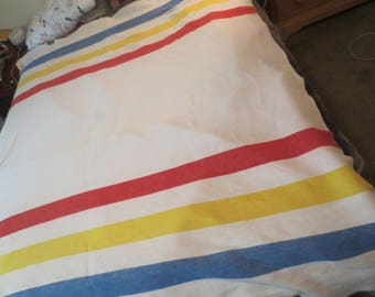 Vintage Striped Camp Blanket / Beacon Camp Blanket / Hudson Bay Blanket / Blanket Remnant / Pillow Fabric / Vintage Camp Blanket