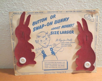 Vintage Childs Suspender Extensions / Button or Snap-on Bunny Size Larger / NOS / 1940s Childs