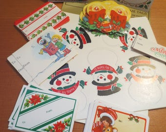 Vtg Lot of 55 Christmas Gift Tags and Labels / Holiday Tags / Holiday Stickers / Hallmark / Sesame Street