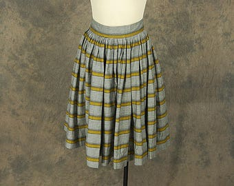 vintage 50s Circle Skirt - 1950s Gray and Yellow Striped Full Skirt Sz XS