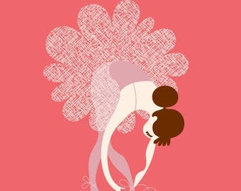 "SUMMER SALE 8X10"" ballerina tying slippers giclée print on fine art paper. warm pink, lilac purple, brunette."