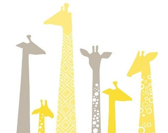 """SUMMER SALE 9X12"""" giraffe silhouettes giclee print. pastel butter yellow and gray."""