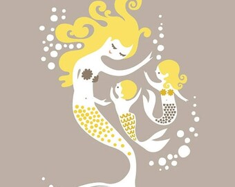 """SUMMER SALE SALE! 1/3 Off! 20X24"""" mermaid mother with baby boy and girl. giclee print. taupe/gray & yellow."""