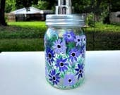 Soap or Lotion Dispenser, Hand Painted Glass Soap Dispenser, Shades of Purple Flowers, Kitchen Decoration, Bathroom Decoration, Pump Style