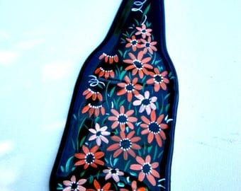 Spoon Rest, Kitchen Trivet,  Melted Amber Beer Bottle,  Hand Painted Shades of Orange Flowers,  Candle Holder, Glass Art