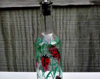Dish Soap Dispenser,  Recycled Clear Glass Bottle, Painted Glass, Oil and Vinegar Bottle, Ladybugs, Bottle Dispenser, Glass Art