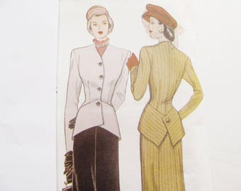 Small sizes / 1948 Style Retro Suit Pattern / 1999 reprint, Butterick 6257 Sewing Pattern Simplicity / Vintage Style Suit Pattern / uncut