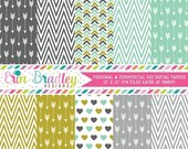 80% OFF SALE Arrows Digital Paper Pack Gold Aqua Charcoal Gray Chevron Stripes & Hearts Digital Scrapbook Papers Instant Download