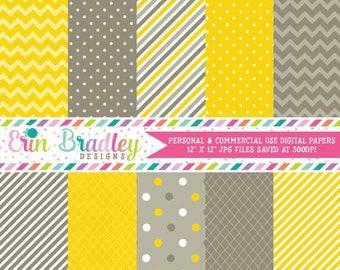 80% OFF SALE Digital Scrapbook Paper Yellow and Grey Brown Polka Dots and Stripes Personal & Commercial Use