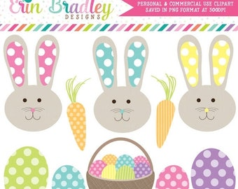80% OFF SALE Easter Bunnies and Eggs Holiday Clipart Clip Art Personal & Commercial Use