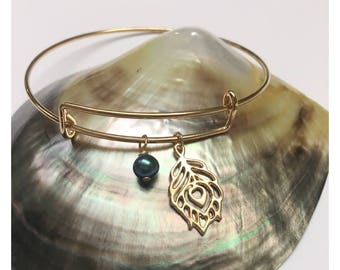 Gold Bangle Bracelet with Peacock Feather Charm and Petite Freshwater Pearl