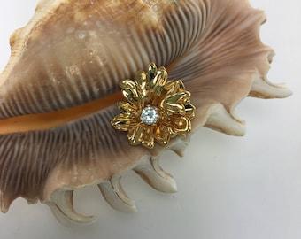 Gold Flower Rhinestone Pendant, Delicate Minimalist Vintage Jewelry,  Costume Jewelry