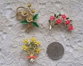 Vintage, Enamel, Flower, Pins, Brooches, Yellow, Pink, White, Flower Power Pins
