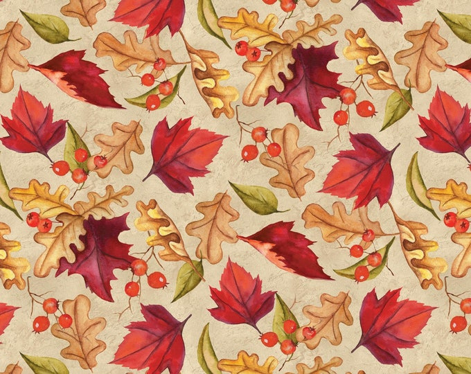 THANKSGIVING FABRIC, Thankful Harvest  Thanksgiving Cotton Fabric by Nancy Mink for Wilmington Prints
