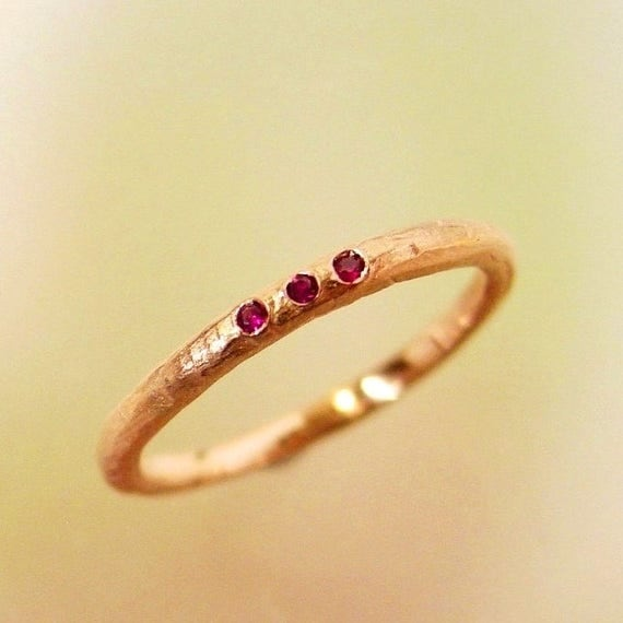 Rose Gold Ruby Wedding Band Stacking Ring