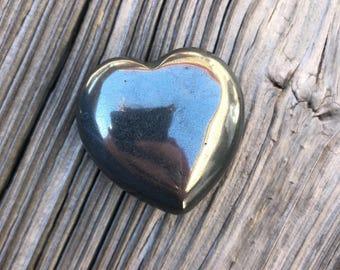 Hematite Meditation Palm Stone Heart (priestess, red tent, yoga, reiki, tarot reader)