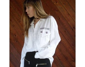 "15% Memorial Day Wknd ... White Cotton Embellished ""RESCUE PLATOON"" Shirt - Vintage 80s - L"