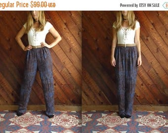 20% off SUMMER SALE. . . Vtg Marble Print High Waist Trouser Pants with Gold Band - 80s - S/M