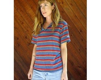 20% off SUMMER SALE. . . Retro Striped Knit LEVIS Polo Shirt - Vintage 70s - S/M