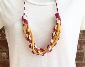 Pink and Yellow Fabric Necklace, Fabric Statement Necklace, Tshirt Yarn, Upcycled Jewelry, Repurposed Jewelry